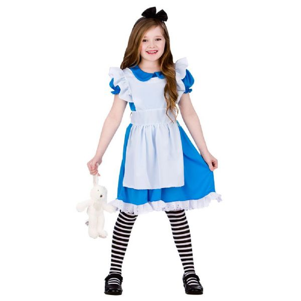 Girls Classic Storybook Alice Costume for Fairytale Story Book Fancy Dress